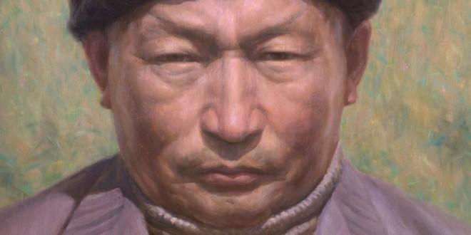 Портрет Нимбу-ламы работы народного художника Бурятии Баясхалана Лыксокова специально написан для книги Путь-Нимбу ламы