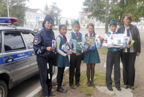 В Джидинском районе юные инспекторы движения объясняют пешеходам правила поведения на проезжей части